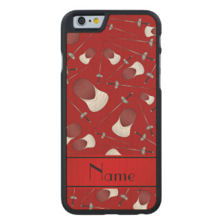 Personalisiertes rotes fechtendes Namensmuster Carved® iPhone 6 Hülle Ahorn