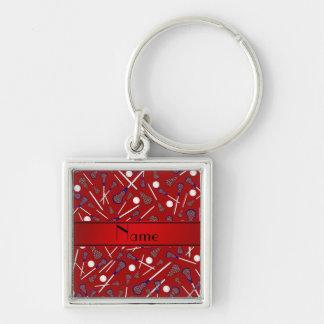 Personalisiertes rotes Lacrossenamensmuster Schlüsselanhänger