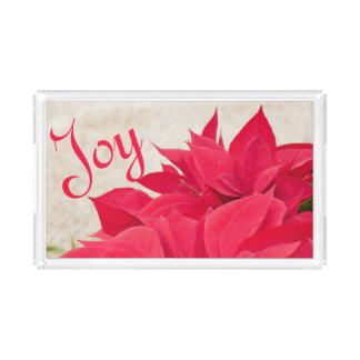 Personalisiertes rotes Poinsettia-Blatt Acryl Tablett