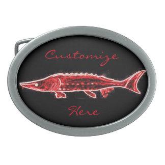 personalisiertes rotes Störschwarzes Ovale Gürtelschnallen
