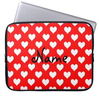 Personalisiertes rotes und weißes Herz-Muster Laptopschutzhülle