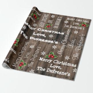 Personalisiertes rustikales Weihnachtshölzerner Geschenkpapier