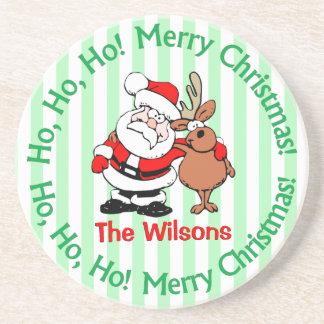 Personalisiertes Sankt- und Ren-Weihnachten Untersatz