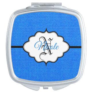 Personalisiertes Saphir-Blau Taschenspiegel