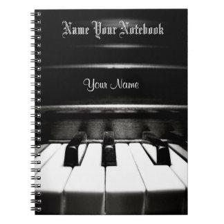 Personalisiertes schwarzes Klavier-Musik-Notizbuch Spiral Notizblock