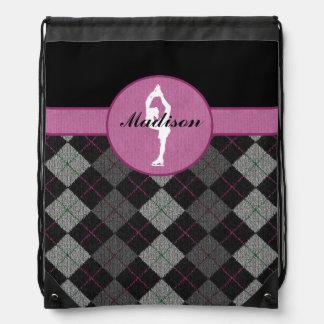 Personalisiertes Schwarzes mit rosa Rauten-Zahl Turnbeutel