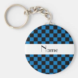 Personalisiertes schwarzes und blaues standard runder schlüsselanhänger