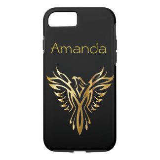 Personalisiertes Schwarzes und Gold Phoenix iPhone 8/7 Hülle