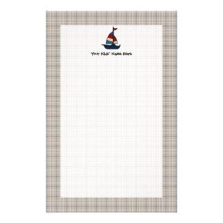 Personalisiertes Seesegelboot-Blau/TAN-Jungen Personalisiertes Druckpapier