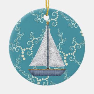 Personalisiertes Seesegelboot-wirbelndes Wasser Keramik Ornament