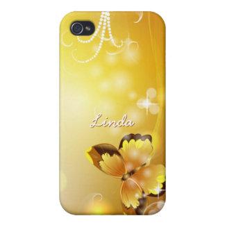 Personalisiertes sehr Gelbes, Schmetterling und iPhone 4 Schutzhülle