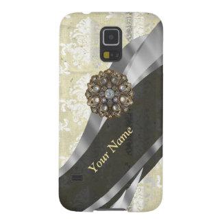 Personalisiertes Silber und weißes Damastmuster Galaxy S5 Cover