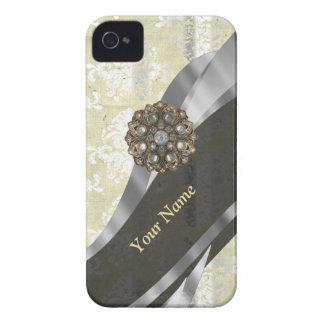 Personalisiertes Silber und weißes Damastmuster iPhone 4 Case-Mate Hülle