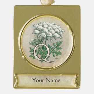 Personalisiertes Spitze-Monogramm der Königin-Anne Banner-Ornament Gold