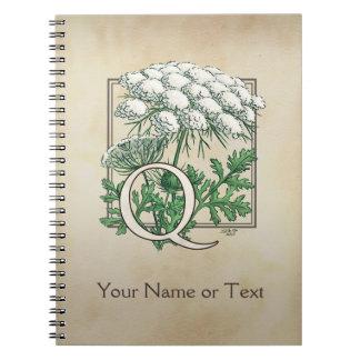 Personalisiertes Spitze-Monogramm der Königin-Anne Notizblock