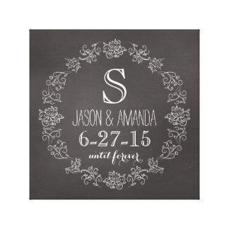 Personalisiertes Tafel-Monogramm-Hochzeits-Datum Gespannter Galeriedruck