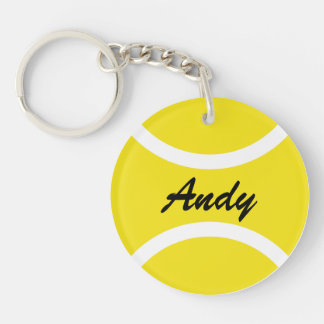 Personalisiertes Tennisball keychain mit Namen Einseitiger Runder Acryl Schlüsselanhänger