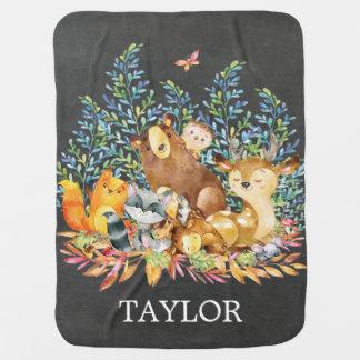 Personalisiertes Waldjungen-Mädchen, das Decke