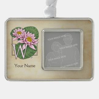 Personalisiertes Wasser-Lilien-Monogramm Rahmen-Ornament Silber