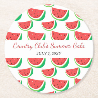 Personalisiertes Wassermelone-Muster-Sommer-Party Runder Pappuntersetzer