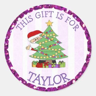 Personalisiertes Weihnachten etikettiert niedliche Runder Aufkleber