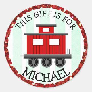 Personalisiertes Weihnachten etikettiert rote Runder Aufkleber