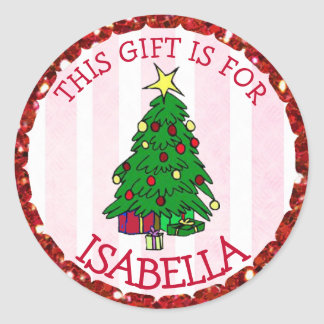 Personalisiertes Weihnachten etikettiert Runder Aufkleber