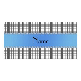 Personalisiertes weißes kariertes Namensmuster Fotokartenvorlagen