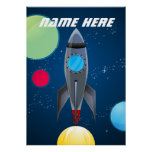 Personalisiertes Weltraum-Rocket-Schiff Poster