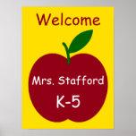 Personalisiertes Willkommen des Apples des Lehrers Poster