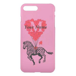 Personalisiertes Zebra- und Liebeherz iPhone 8 Plus/7 Plus Hülle