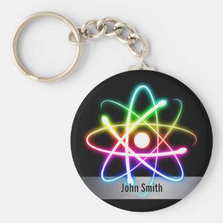 Personalizable buntes glühendes Atom Schlüsselanhänger