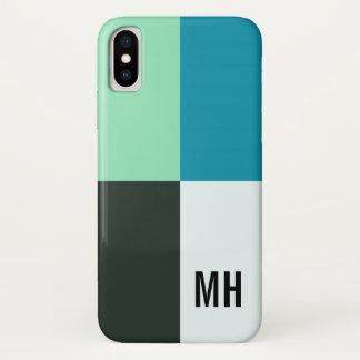 Personalizable Kohlen-Elfenbein-aquamariner blauer iPhone X Hülle