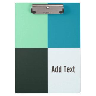 Personalizable Kohlen-Elfenbein-aquamariner blauer Klemmbrett