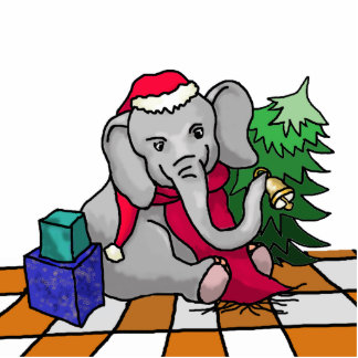Personalizable niedlicher Sankt Elefant im Schnee Fotoskulptur Magnet