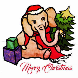 Personalizable niedlicher Sankt Elefant im Schnee Fotoskulptur Ornament