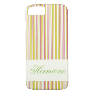 Personalizable rosa und tadelloser Streifen iPhone iPhone 8/7 Hülle