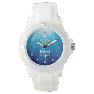 Personalizable Uhr mit christlichem Fisch-Symbol