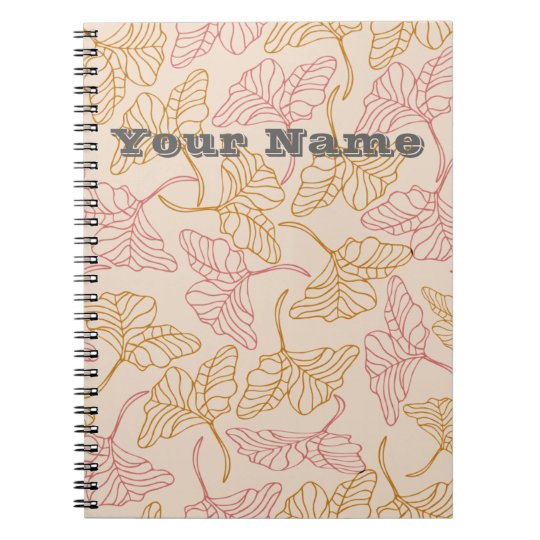 Personalized vintage floral leafs in yellow & pink spiral notizblock