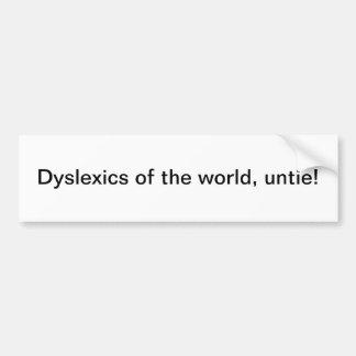 Personen mit Lesestörung der Welt, lösen - Autoaufkleber