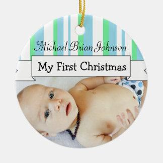 Personifizieren Sie Baby-Jungen-Foto-blaue Rundes Keramik Ornament