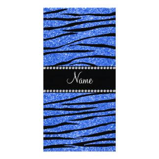 Personifizieren Sie blaue Glitter Zebranamensstrei Bilderkarten