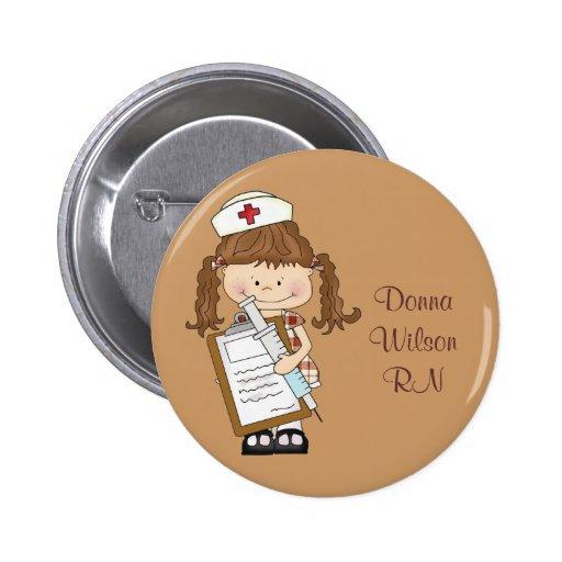 Personifizieren Sie brünette Krankenschwester-Gesc Anstecknadelbutton