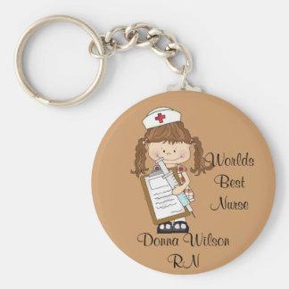 Personifizieren Sie brünette Krankenschwester-Gesc Schlüsselanhänger