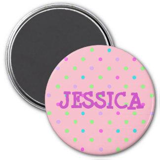 Personifizieren Sie diesen rosa Polka punktierten Runder Magnet 7,6 Cm