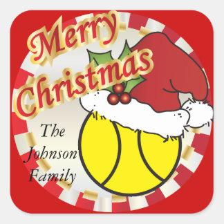 Personifizieren Sie frohe Weihnacht-Tennisball Quadratischer Aufkleber