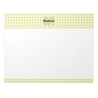 Personifizieren Sie:  Gelbes/weißes strukturiertes Notizblock
