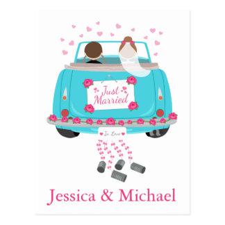 Personifizieren Sie gerade verheiratete blaue Postkarte