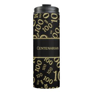 Personifizieren Sie: Gold-/schwarze der Nr.-100 Thermosbecher
