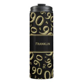 Personifizieren Sie: Gold-/schwarze der Nr.-90 Thermosbecher